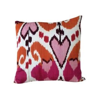 Madeline Weinrib Pink/Orange Silk Ikat Pillow