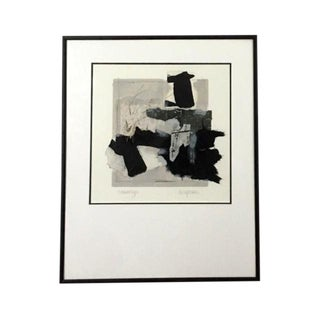 """1990s """"Monotype"""" Black & White Collage by Marilyn Bergstrom For Sale"""