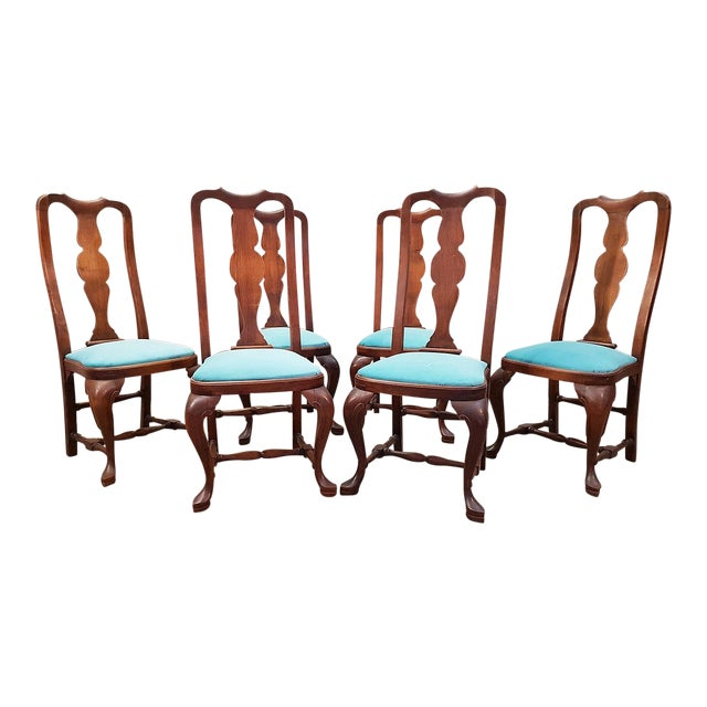 French Antique Chippendale Queen Anne Style Walnut Turquoise Blue Reupholstered Dining Chairs - Set of 6 For Sale