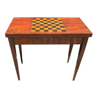 French Louis XVI Flame Mahogany Inlaid Game Table For Sale
