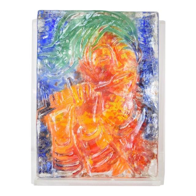 "1970s Vintage ""The Flutist"" Reuven Rubin & Egidio Constantini Art Glass Sculpture For Sale"