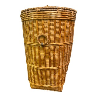 Tall Vintage Hand Woven Basket With Lid For Sale