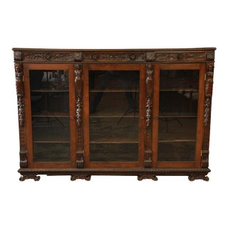 Antique Ornate Carved French Triple Bookcase For Sale