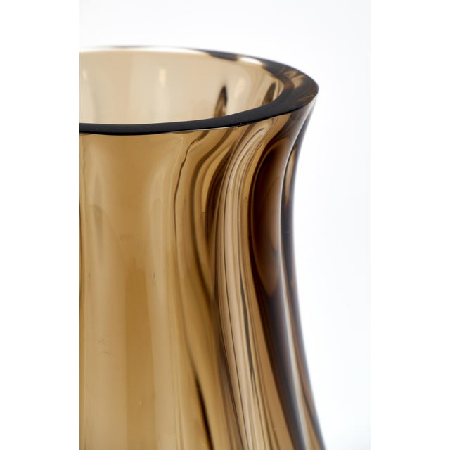 Brown Large Murano Smoked Glass Vase For Sale - Image 8 of 10