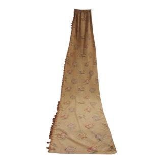 Antique 1890s French Linen & Cotton Floral Fabric Long Curtain W/ Trim For Sale