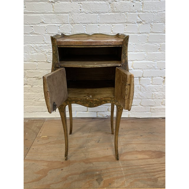 Early 20th-Century French Inspired Hand Painted Side Cabinet + Marble Top For Sale - Image 4 of 12