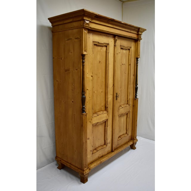 Traditional Pine Two Door Armoire For Sale - Image 3 of 13