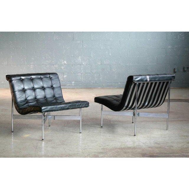 A rare and fantastic pair of original lounge chairs designed by William Katavolos, Ross Littell and Douglas Kelley for...