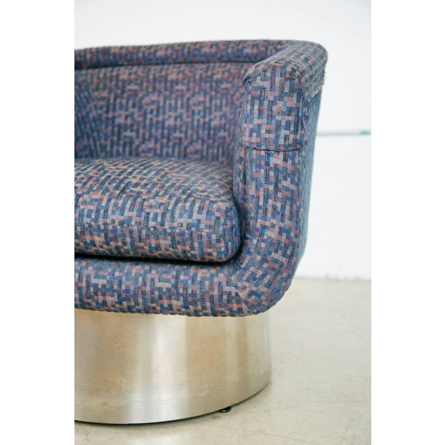 Chrome Leon Rosen for Pace Swivel Chair With Chrome Plinth Base For Sale - Image 7 of 9