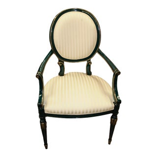 Decorative Craft Empire Style Green Lacquer Arm Chair For Sale