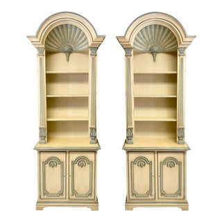 1970s Painted Grotto Inspired Carved Pine Shell Bookcases / Cabinets, a Pair