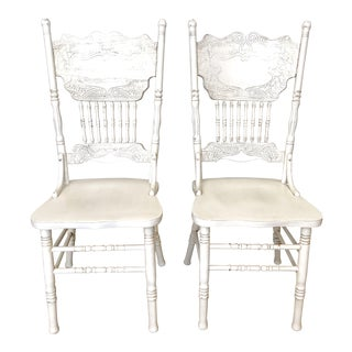 1970s Vintage White Farmhouse Chairs - A Pair For Sale