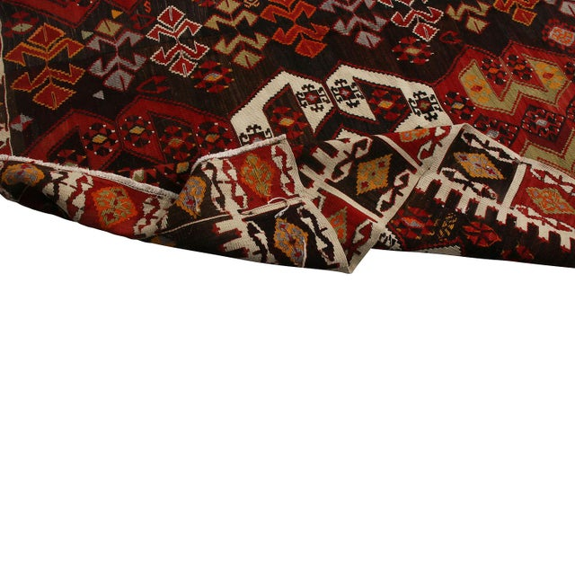 1950s Vintage Mid-Century Malatya Red and Off-White Wool Kilim Rug- 5′10″ × 13′ For Sale - Image 5 of 6