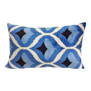 Sapphire and Carolina Blue Silk Velvet Accent Pillow For Sale