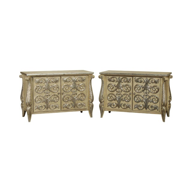 Rococo Style Custom Silver Leaf Foliage 2 Door Commodes Servers - a Pair For Sale - Image 12 of 12