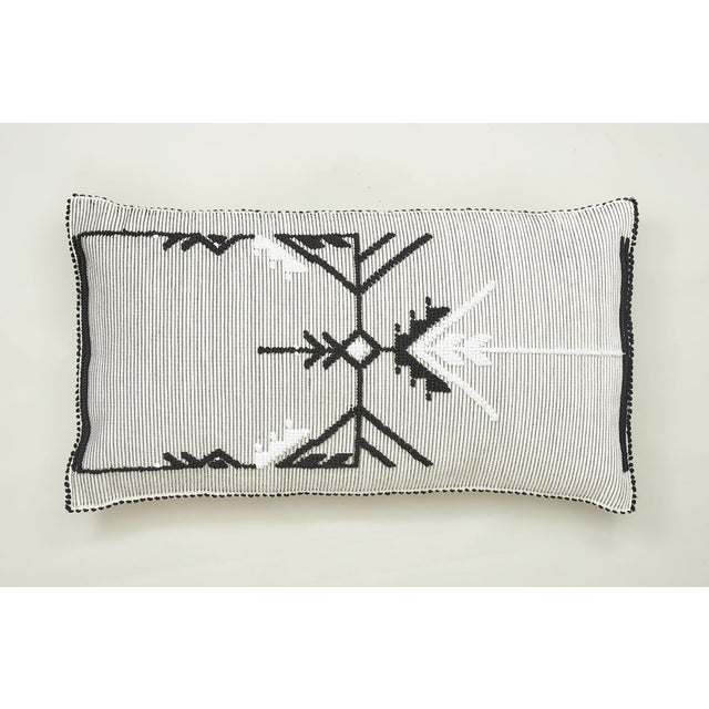 "Early 21st Century Schumacher Artiganale Italian Hand Woven Black White 48"" Floor Pillow For Sale - Image 5 of 5"