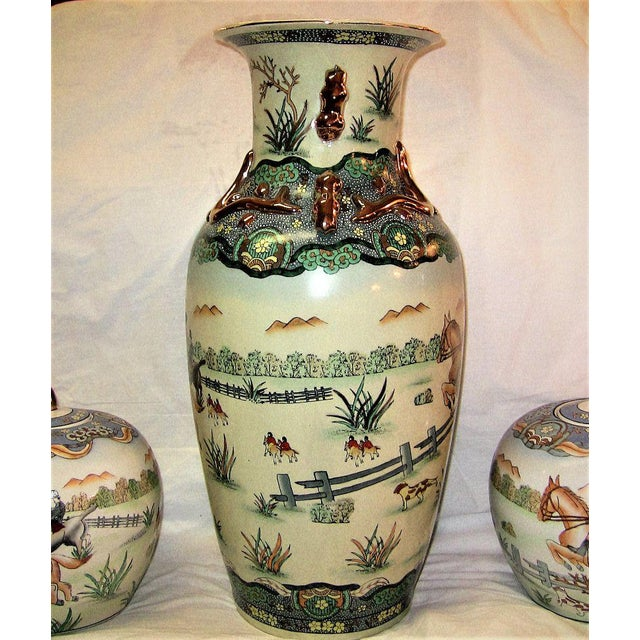 Early 20c Chinese Hunt Scene Floor Vase and Lidded Urns For Sale - Image 4 of 13
