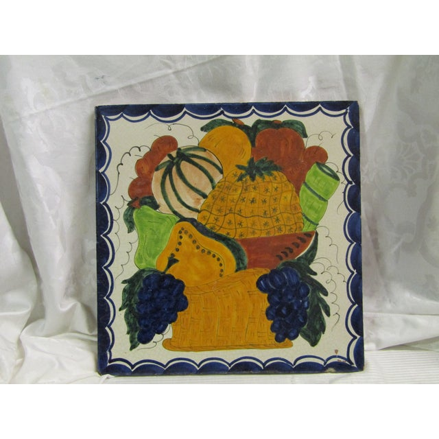 Vintage Hand-Painted Square Fruit Tile - Image 2 of 6