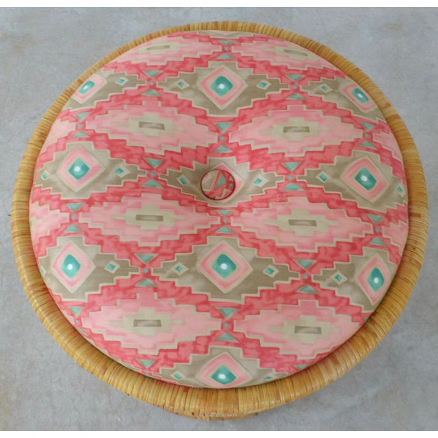 Mid-Century Woven Rattan Stool For Sale In West Palm - Image 6 of 10
