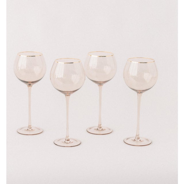 Modern Siren Beverageware Fawn + Gold White Wine - Set of 4 For Sale - Image 3 of 3