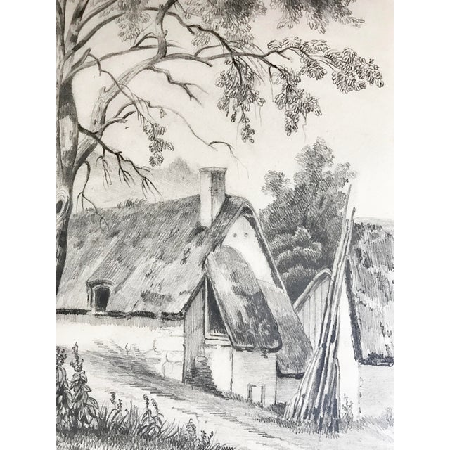 19th C French Cottage Landscape Drawing - Image 4 of 5