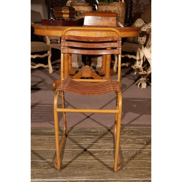 Industrial Painted Bakelite Slat Stacking Chairs, England, circa 1940 For Sale - Image 3 of 11