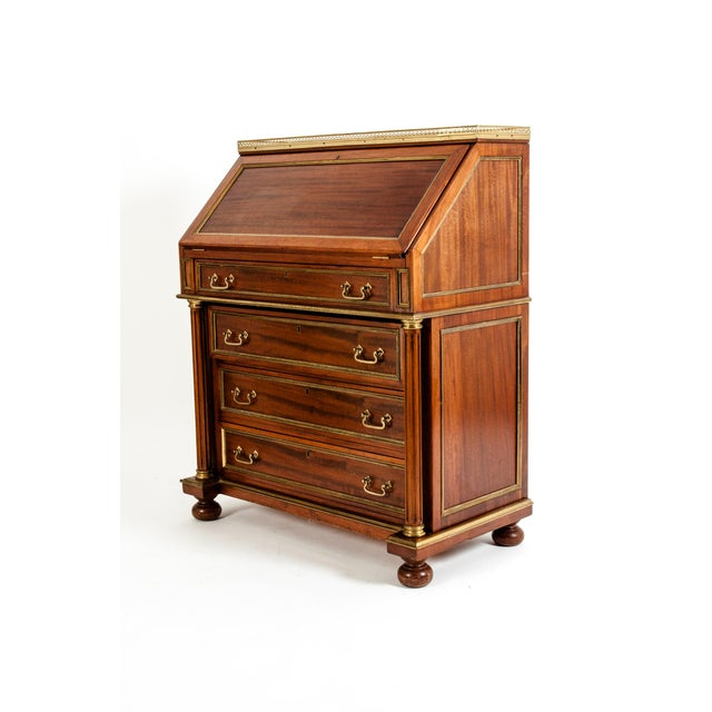 19th Century Mahogany Wood Gallery Top Drop Front Writing Desk For Sale - Image 9 of 13