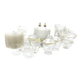 Vintage Mid-Century Pressed Faceted Clear Glass Dishes With Gold Rims Dinnerware Set - 62 Pieces For Sale