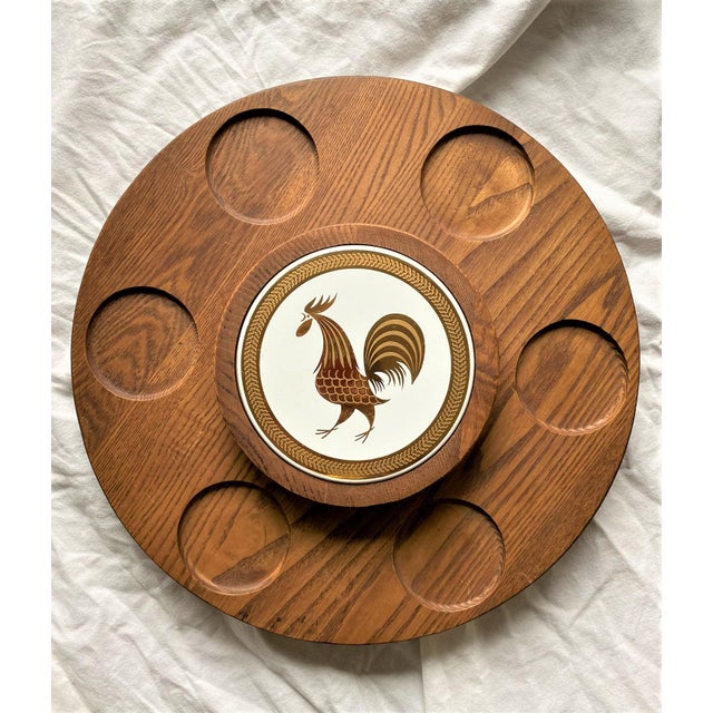 1960s Mid Century Modern Teak Lazy Susan With Gold Rooster For Sale - Image 10 of 10