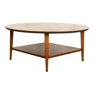 Mid-Century Lane Round Coffee Table With Shelf