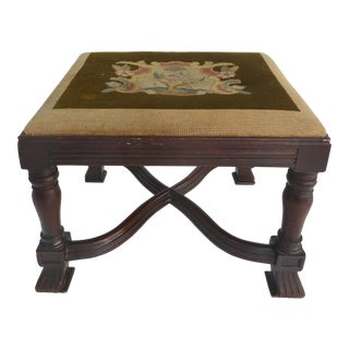 Antique Curved X Frame Footstool For Sale
