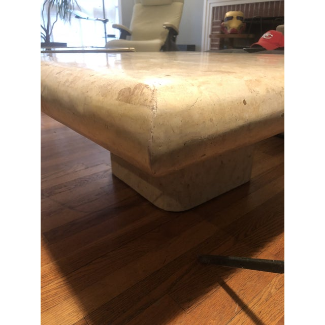 Karl Springer 1970s Organic Modern Tesselated Fossilized Stone Coffee Table Karl Springer Style For Sale - Image 4 of 13