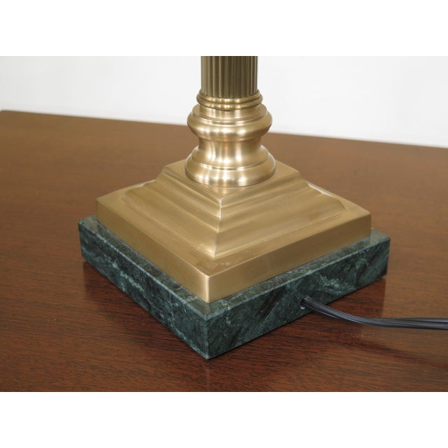 2000 - 2009 Wildwood Brass & Green Marble Base Table Lamps - a Pair For Sale - Image 5 of 7