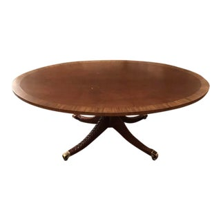 Neoclassical Kindel Elliptical Mahogany Coffee Table For Sale