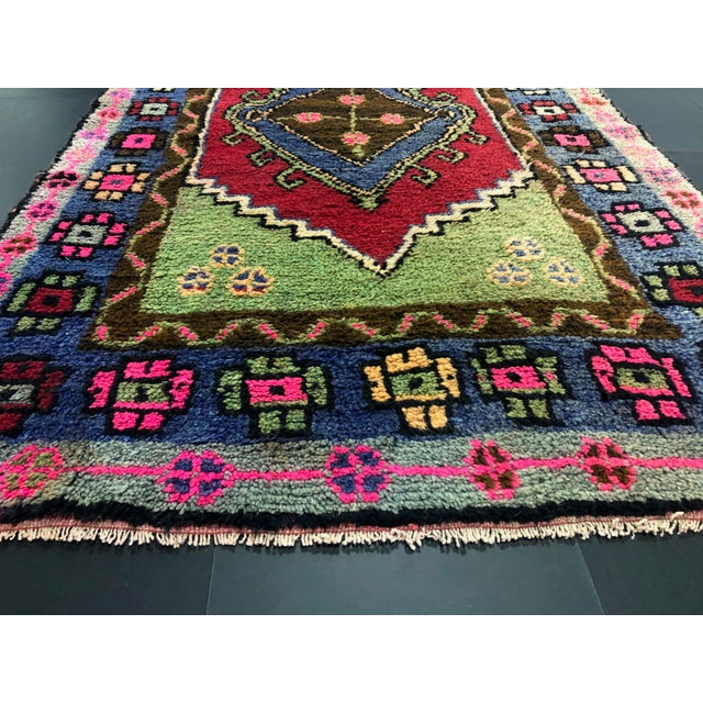 Blue Traditional Anatolian Aztec Antique Blue Green Pink and Red Turkish Oushak Rug For Sale - Image 8 of 12