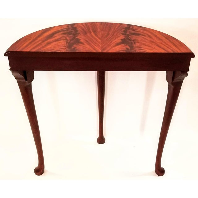 English English Edwardian Flame Mahogany Topped Georgian Style Demi-Lune Console Table For Sale - Image 3 of 9
