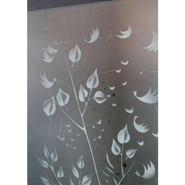 Transparent Four-Panel Etched Glass Screen For Sale - Image 8 of 10