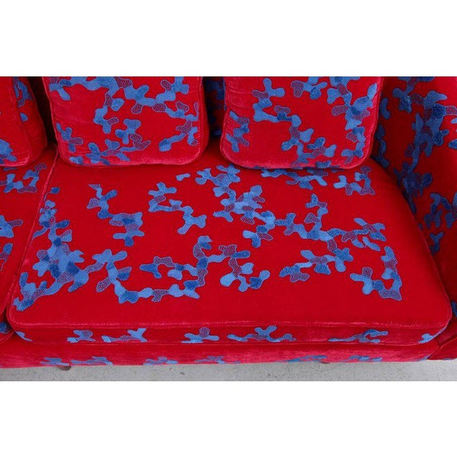 Harvey Probber Harvey Probber Sofa with Jupe by Jackie hand embroidered fabric For Sale - Image 4 of 9