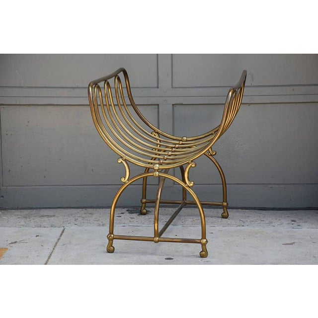 Mid-Century Modern Mid Century Siegel Paris Solid Brass Fireplace Wood Rack For Sale - Image 3 of 6