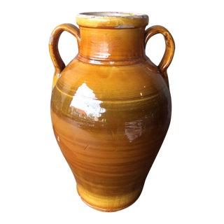 """Glazed Antique Terracotta Jar- 14.75"""" H For Sale"""