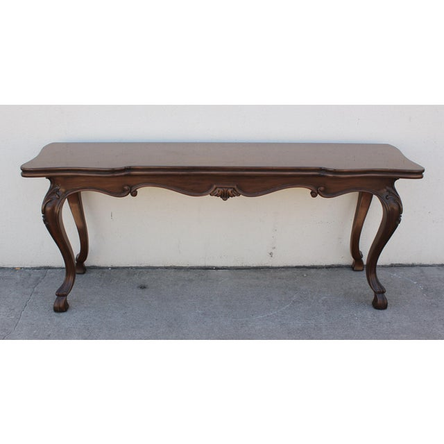 """Gorgeous French Provincial-style console table which converts into a dining table by Karges. Table extends to 38.75"""""""