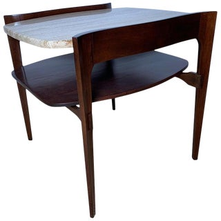 1950s Mid-Century Modern Bertha Schaefer for M. Singer & Sons Walnut and Travertine End Table For Sale