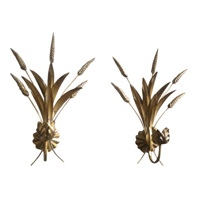 Mid Century Gold Gilt Sheaf Wheat Sconces - a Pair - Image 1 of 7