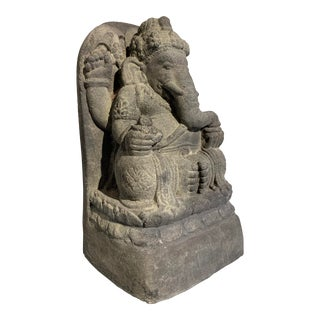 Vintage Indonesian Cast Stone Ganesh For Sale