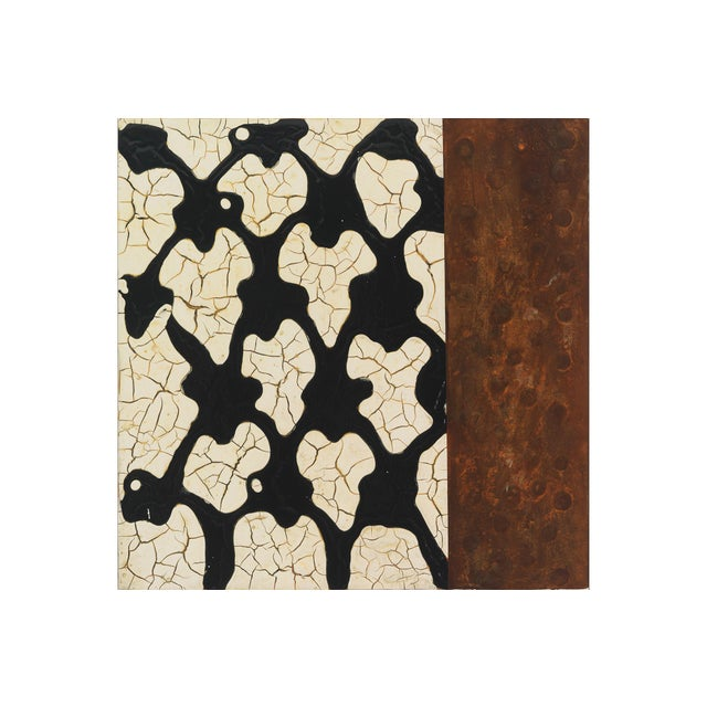 Lynn Basa mimics the pattern of black lattice and the texture and colors of rust in the acrylic on panel painting. The...