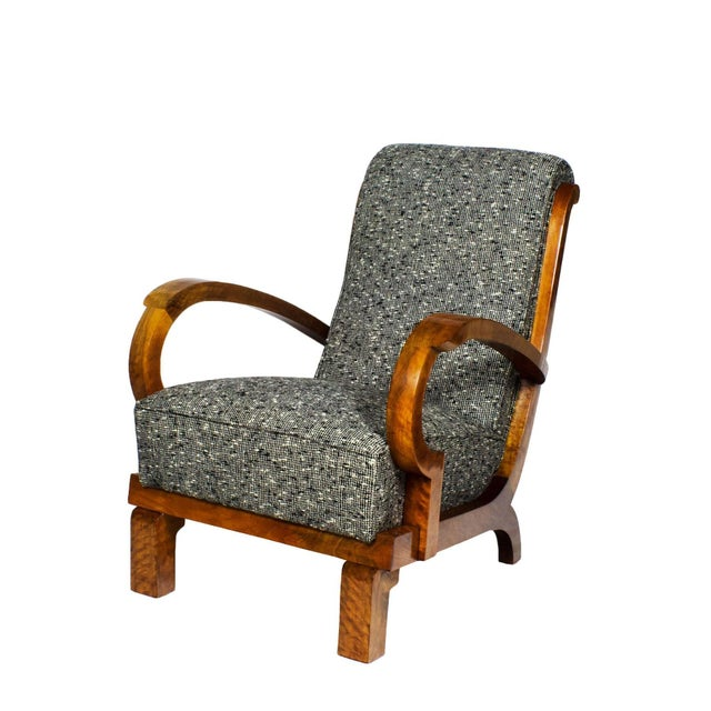 Art Deco 1930s Pair of Art Deco Armchairs, Walnut, Wool, Italy For Sale - Image 3 of 11