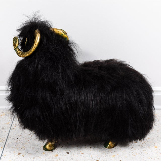 1980s Bronze and Fur Sheep Sculptures - Individual For Sale - Image 5 of 11