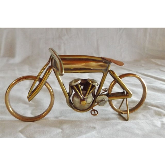 Brass Motorcycle Sculpture Cyclone Racer - Image 8 of 10