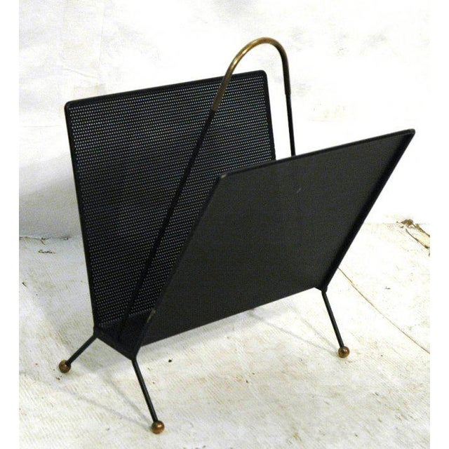 Modernist Mid Century Pierced Metal Magazine Rack with Brass Accents - Image 2 of 4
