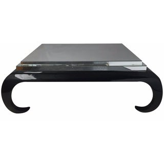 Black Laquer & Mirrored Coffee Table For Sale